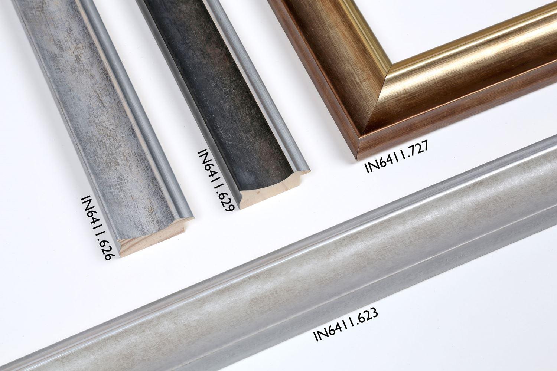 IN6411: 623 Cementowy popiel/srebrna krawędź / 626 Srebrny popiel/srebrna krawędź / 629 Popiel antracytowy/srebrna krawędź / 727 Ciepłe złoto/złota krawędź