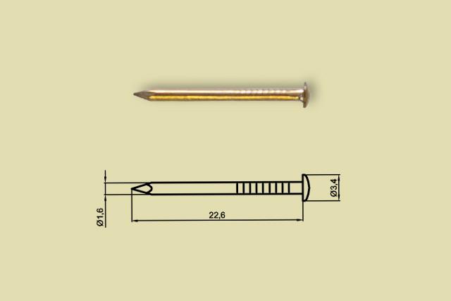 Gwoździki mosiężne chińskie S24/3 1,5x22mm